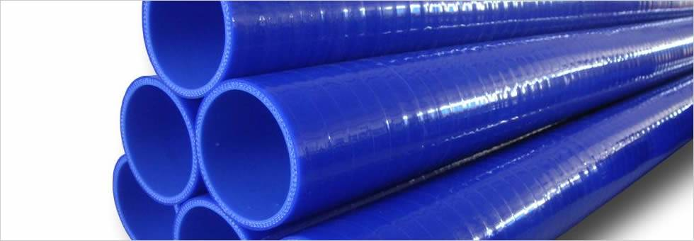 There are several blue straight silicone hoses with same diameters.